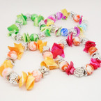 Colorful Chip Shell & MBL Bead Stretch  Bracelets  .54 each