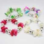 Colorful Chip Shell & Silver Rose Bead Stretch  Bracelets  .54 each