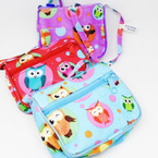 "4"" Long Strap 2 Zipper Side Bag OWL Prints .62 each"