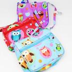 """4"""" Long Strap 2 Zipper Side Bag OWL Prints .62 each"""