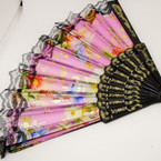 "9"" Blk Handle Lace Flower Print Hand Fan Gold Stamped  .54 ea"