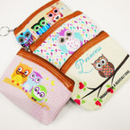 "SO CUTE 5"" OWL Theme Zipper Coin Purse w/ Keychain .56 each"