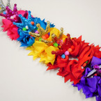 "6"" Layered Gator CLip Bow w/ Pom Pom's & Glitter Crown Brights .58 ea"