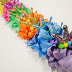 "6"" Layered Gator CLip Bow w/ Pom Pom's & Glitter Crown Pastels .58 ea"