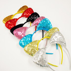 Trendy Sequin Cat Ear Headbands Mixed Colors .54 each