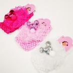 "2.5"" Crochet Bow Stretch Headwrap w/ Sequin Mouse Ears .54 ea"