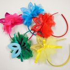 NEW ! Satin Headband w/ Chiffon Bow & Sparkle Cat Eye's .54 each