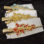 "NEW Crystal Stone 5"" Gold  Salon Clips ONLY .56 each"