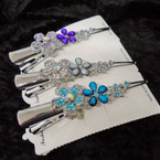 "NEW Crystal Stone 5"" Silver  Metal Salon Clips ONLY .56 each"