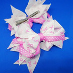 "5"" Layered Pink Ribbon Gator Clip Bows .54 each"