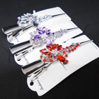 "NEW"""" Crystal Stone 5"" Silver  Metal Salon Clips ONLY .56 each"