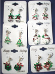 Epoxy Christmas Holiday Fashion Earring w/ Crystal Stone 12 Styles .62 ea