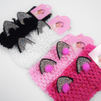 "2.5"" Crochet Headwrap w/ Pom Pom & Crystal Cat Eyes .56 each"