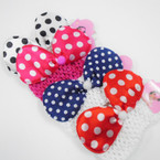 "2.5"" Crochet Headwrap w/ 5"" Poka Dot Bow  .56 each"