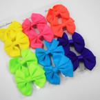 """4 Pack 3"""" Neon Color Gator Clip Bows .54 each set"""