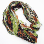 "Special 12"" X 70"" Crinkled Fabric Leopard Print Scarf Asst Colors ONLY $1.00 each"