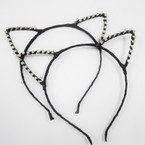 All Black Cat's Ear Headbands w/ Crystal Stone Ear's .54 each