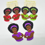 "2.5"" Wood Fashion Lady Earring w/ Sassy Girl Look  .54 ea"