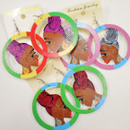 "2.5"" Rd. Colorful Wood Fashion Lady Earring  .54 ea"