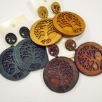 "2.5"" Rd. 3 Color 2 Layer Wood  Earring Tree of Life  .54 ea"