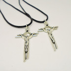 "2 Pack Black Cord Necklace w/ 2"" Metal Silver Cross w/ Jesus"