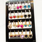Gold & Silver Euro Wire Heart  Stone Earrings w/ Rhinestones 12 pr display