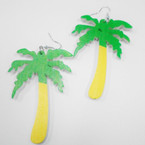"3"" Green & Yellow Wood Palm Tree Earrings .54 per pr"