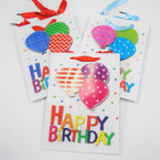 "7"" X 9"" Hi Quality  Happy Birthday Gift Bags w/ Raised Balloons .54 each"