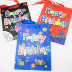"7"" X 9"" Hi Quality  Happy Birthday Gift Bags w/ Raised Letters .54 each"