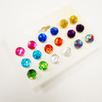 Value Pack 9 Pair  Round Ball Shiney Earrings .54 per set
