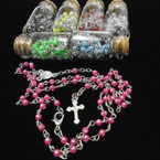 "30"" Glass Bead Rosary in Glass Bottle Mix Colors Stone Look   .58 each"