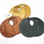 "Jumbo 4.5"" Wood Earrings Lightweight .54 each pr Natural Colors"