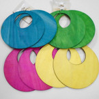 "Jumbo 4.5"" Wood Earrings Lightweight .54 each pr Bright Colors Mixed"