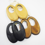 "3"" Oval Wood Fashion Earrings  .54 each pr Natural Colors"