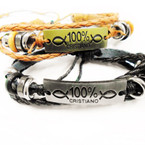 Multi Strand Leather Bracelets 100% Cristiano Gold/Silver .54 each