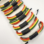 3 Strand Rasta Color Leather Bracelets .54 each