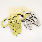 "3"" Gold & Silver Africa Map Earrings w/ Lady .54 each"