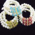 3 Strand Glass Pearl Bracelet w/ Crystal Beads BEST VALUE .56 each
