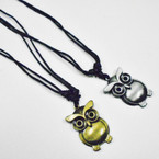 Black DBL Leather Cord Necklace w/ Matt Gold/Silver Owl Pend.   .54 ea