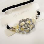 Elegant Elastic Ponytailer w/ Crystal Stones & Pearls  .54 each