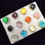 Round Cat's Eye Fashion Ring w/ Mini Crystals .54 each
