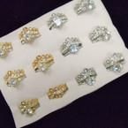 Elegant Gold & Silver 2 pc Wedding Ring Set CZ & Crystal Stones   .54 each