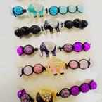 Macrame Bracelet w/ Fireball Beads & Crystal Stone Elephant .54 each