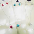 Thin Ball Chain Necklace Set w/ Crystal Stone Fireball .54 per set