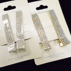 "2 Pk  2.5"" Gold & Silver Crystal Stone Hair Clips  .54 per set"