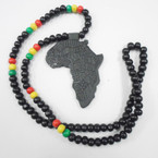 "28"" Black & Rasta Color Wood Bead Necklace w/ 3"" Africa Map Pend. 54 each"