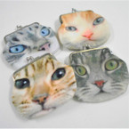 "3.5"" DBL Sided Cat Theme Soft Fabric Snap Coin Purses .58 each"