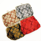 "4"" ""C"" Pattern Snap Closure Coin Purses Asst Colors .57 each"