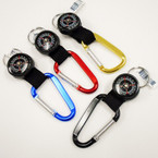 "3"" Metal Carabiner Keychain w/ Compass Asst Colors .56 each"