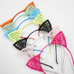 Trendy Lite Color Crochet  Cat Ear Headbands Mixed Colors .54 each